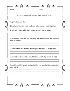 Nouns and Capitalization Test