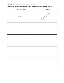 Nouns and Pictures Worksheet