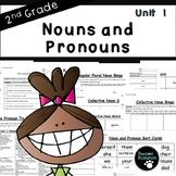 Second Grade Noun and Pronoun Unit (EDITABLE!, Standards Aligned)