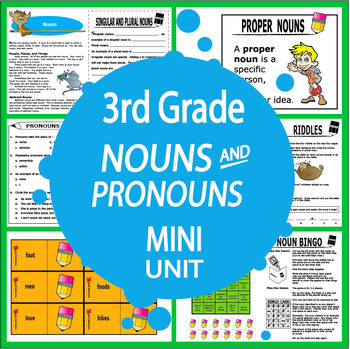 Nouns & Pronouns Activities + 4 Lessons, COLOR Game, Nouns ...