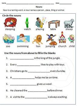 Nouns, Common Nouns & Proper Nouns Worksheets for Grade 1 & 2