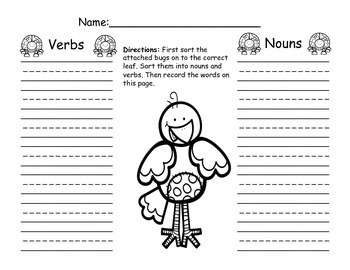 Nouns and Verb Sort- Spring Bug Themed!