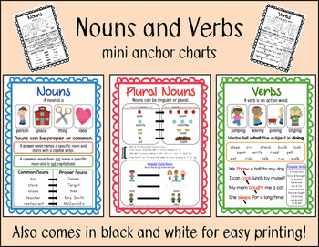 Nouns and Verbs chart FREEBIE