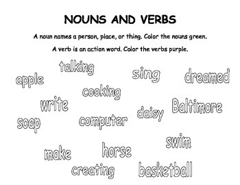 Nouns And Verbs Coloring Page