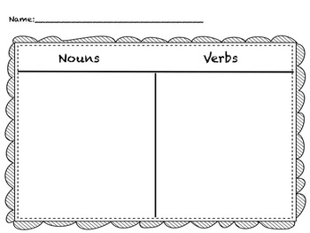 Nouns and Verbs Cut and Paste Activity