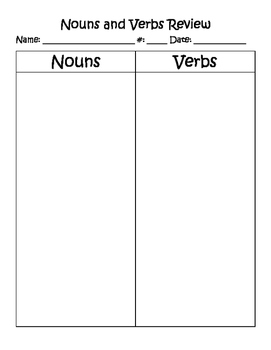 Nouns and Verbs Cut-and-Sort
