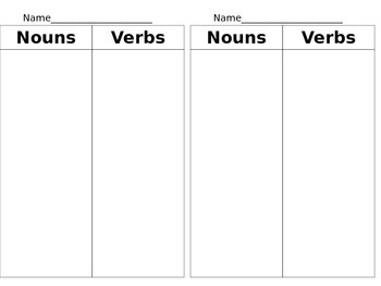 Nouns and Verbs Journal Entry