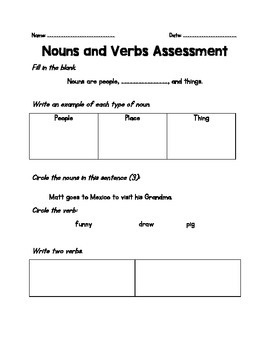 Nouns and Verbs Mini-Assessment