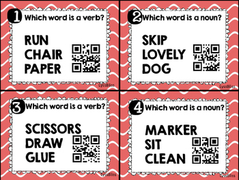Nouns and Verbs QR Code activity