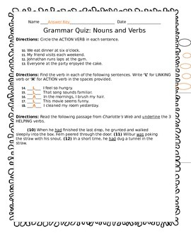 Nouns and Verbs Quiz