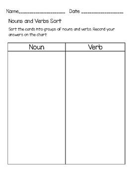 Nouns and Verbs Sort {Freebie!}