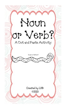 Nouns and Verbs Sort - Cut and Paste