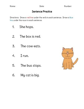 Nouns and Verbs Sort and Worksheet