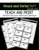 Nouns and Verbs Sort and Task Cards