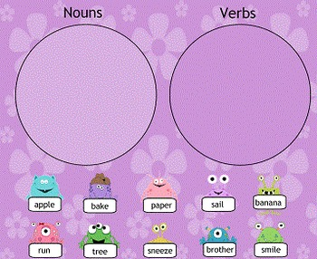 Nouns and Verbs Sorting Activity SMART Board Lesson