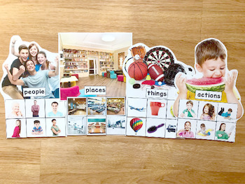Nouns and Verbs Sorting Mats (w/Real Photos)