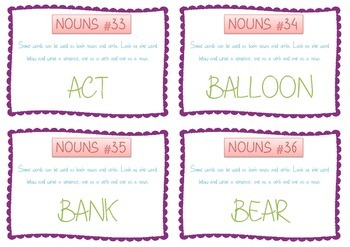 Nouns and Verbs Task Cards - Guided Reading