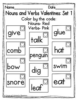 Nouns and Verbs Valentines {Freebie!}
