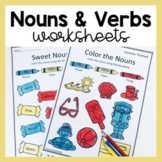 Nouns and Verbs Worksheets for Grammar Parts of Speech