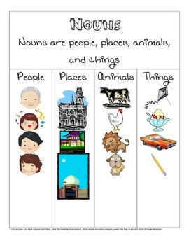 Nouns interactive notebook page