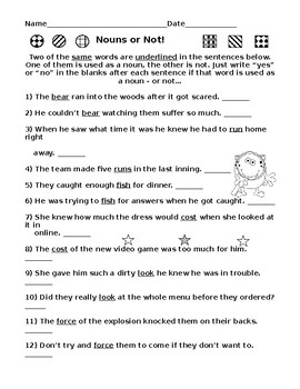 Nouns or Not Worksheets PLUS Nouns Word Search Puzzle