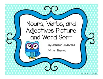 Nouns, verbs, and adjectives picture sort