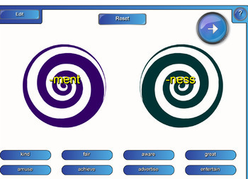 Interactive Nouns with Suffixes Activity for IWB