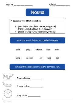 Nouns worksheet by a British teacher for new to English learners.