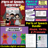 Nouns, Verbs, and Pronouns PowerPoint BUNDLE with Distance
