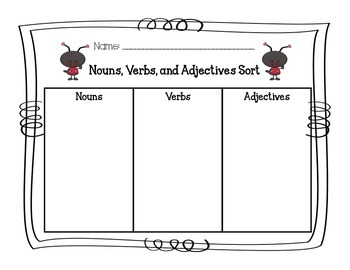 Nouns/Verbs/Adjectives Word Sort