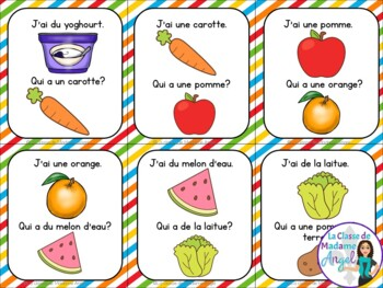 Nourriture:  Food Themed Vocabulary Game in French - J'ai...Qui a...?
