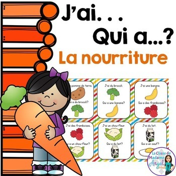 Nourriture:  Food Themed Vocabulary Game in French - J'ai.