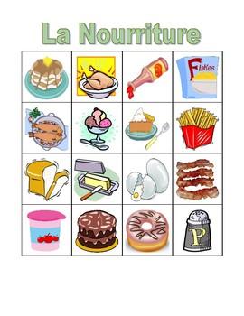 Nourriture (Food in French) Bingo