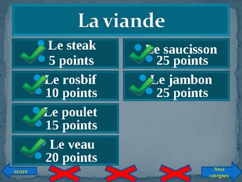 Nourriture (Food in French) Family Feud