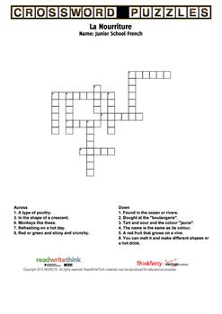 Nourriture crossword!