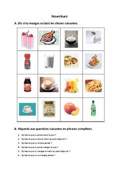 Nourriture et boissons, manger, boire French speaking activity, warm-up