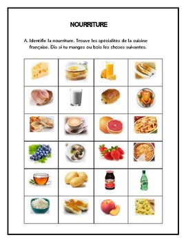 Nourriture, food, writing and speaking in French
