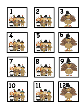 Nov. Thanksgiving Calendar Cards: Fit Small and Reg Calendars