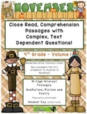 November 4th (V.1) Common Core Close Read with Complex Text Dependent Questions