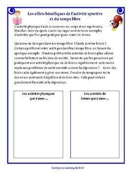 Nova Scotia Health Education Grade 4 Activities (FRENCH)
