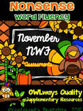 Autumn Nonsense Word Fluency R.T.I. Resource Assessment Pack for November