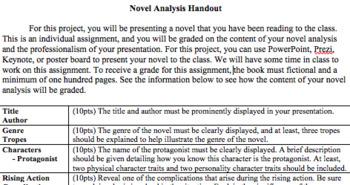Novel Analysis Project