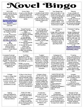 Novel Bingo Cards