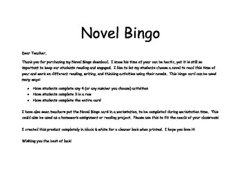 Novel Bingo - Comprehension & Writing