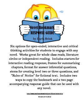 Novel Bookmark and Response Guide: Open Ended Activities for Any Novel
