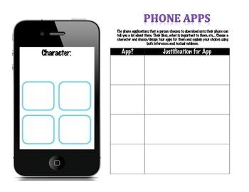 Novel Character Cell Phone Apps Activity