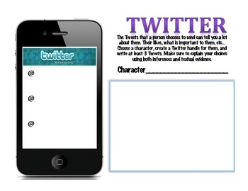 Novel Character Cell Phone Twitter Activity