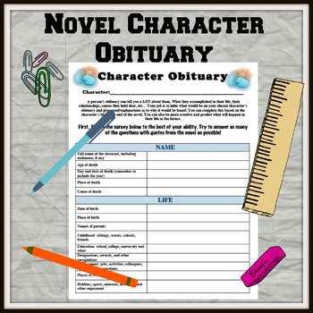 Novel Character Obituary