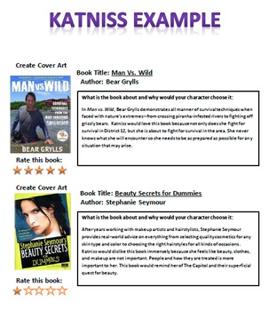 Novel Character Reading List Activity
