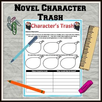 Novel Character Trash Activity